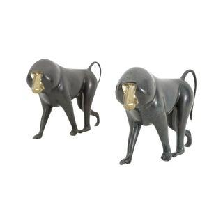 Set of Bronze Baboons by Loet Vanderveen For Sale