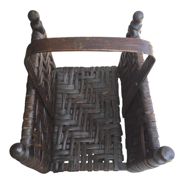 Leather and Wood Firewood Holder - Image 1 of 5