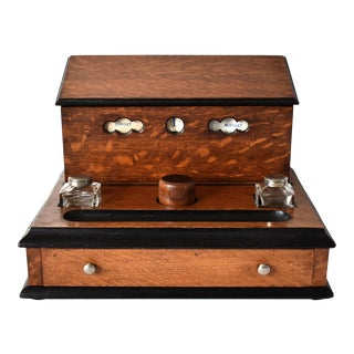 Victorian Tiger Oak Letterbox and Inkstand With Perpetual Calendar For Sale