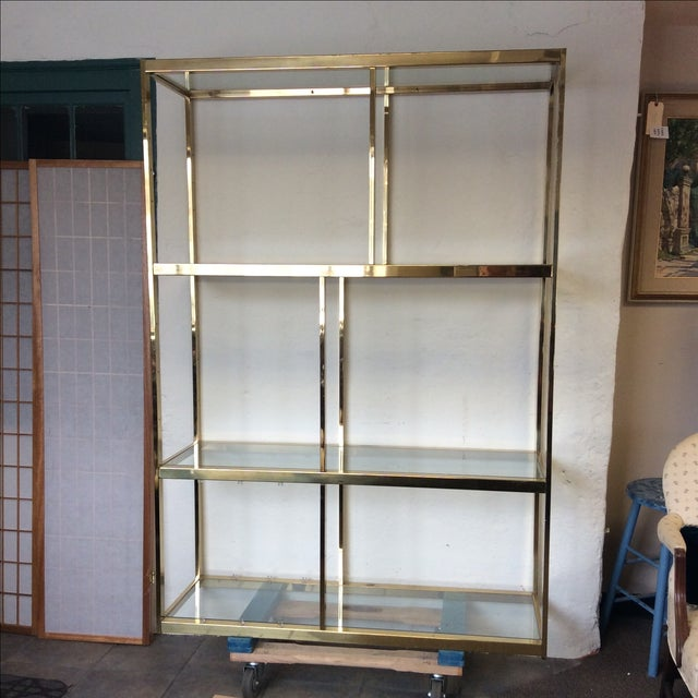 Brass Etagere With Glass Shelves - Image 2 of 7