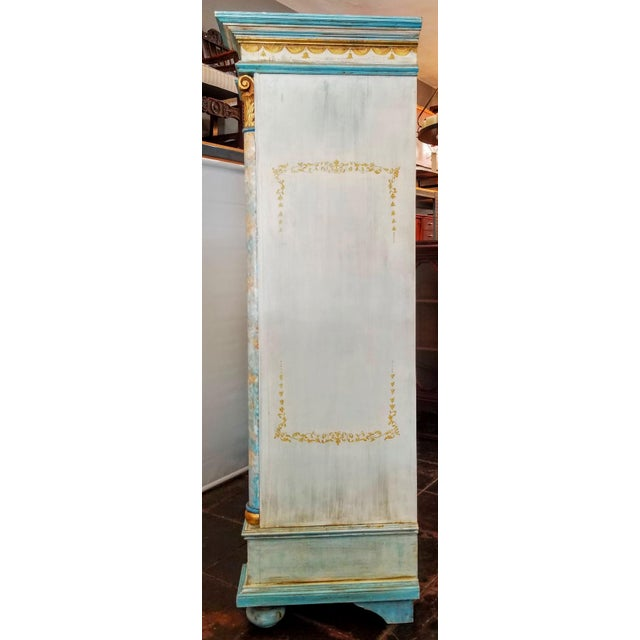Antique Gustavian Swedish Neoclassical Painted Armoire / Wardrobe For Sale In San Diego - Image 6 of 13
