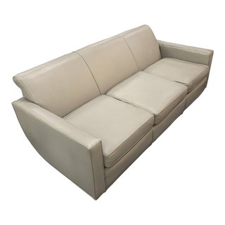 Taupe Leather and Chrome Sofa For Sale
