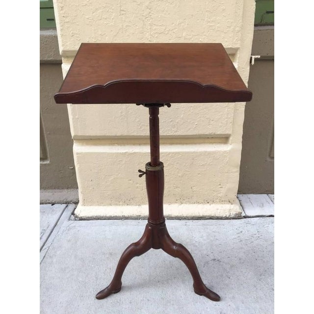 Georgian mahogany adjustable dictionary / music / reading / podium stand with carved shoe feet. All original hardware.