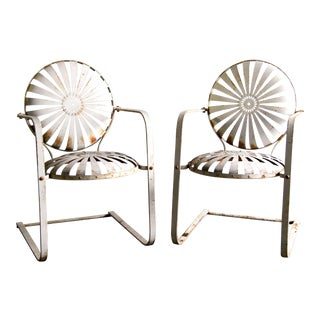 C.1930's French Art Deco Francois Carre Iron Sunburst Springer Patio Chairs - a Pair For Sale