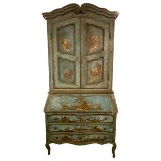 18th Century Chinoiserie Italian Two-Piece Secretary Desk Bookcase For Sale
