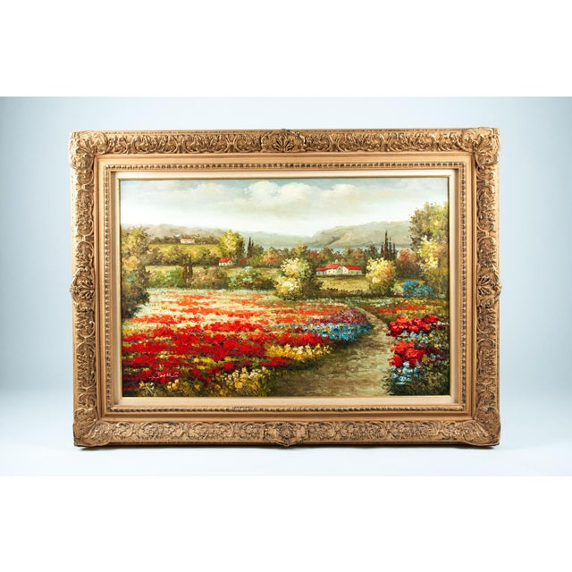 Mid-20th Century Floral Field Wood Framed Oil Painting For Sale - Image 13 of 13