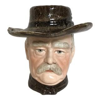 Antique Teddy Roosevelt Majolica Tobacco Jar Humidor For Sale