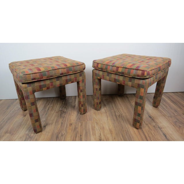 1980s Vintage Multicolor Parsons Stools - a Pair For Sale - Image 13 of 13