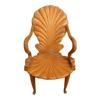 Italian Carved Fantasy Grotto Chair With Dolphin Arms and Sea Shell Back For Sale