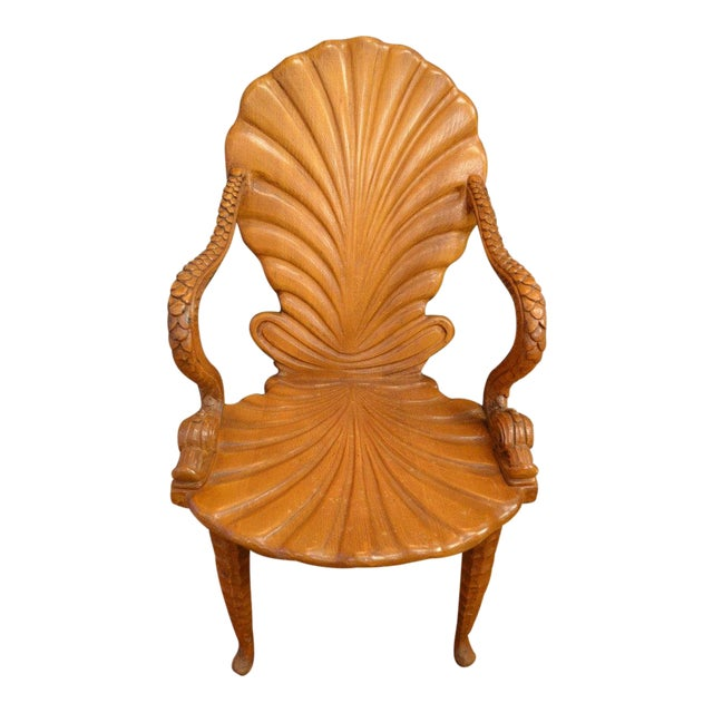 Italian Carved Wood Fantasy Grotto Chair With Dolphin Arms and Sea Shell Back For Sale