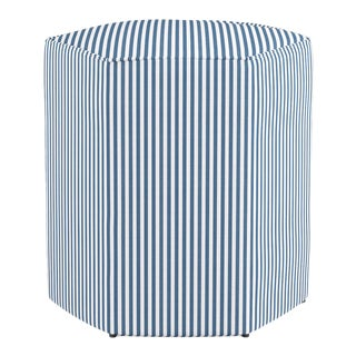 Hexagonal Ottoman in Azul Ticking Stripe For Sale