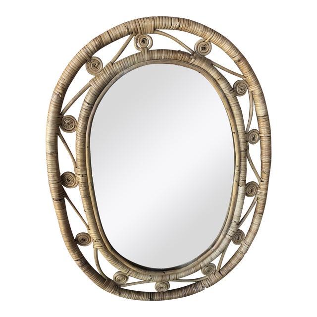 Hollywood Regency Boho Chic Wicker Peacock Mirror For Sale