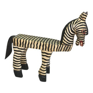 Vintage Indonesian Hand Carved Black and White Zebra Striped Objet D'Art For Sale