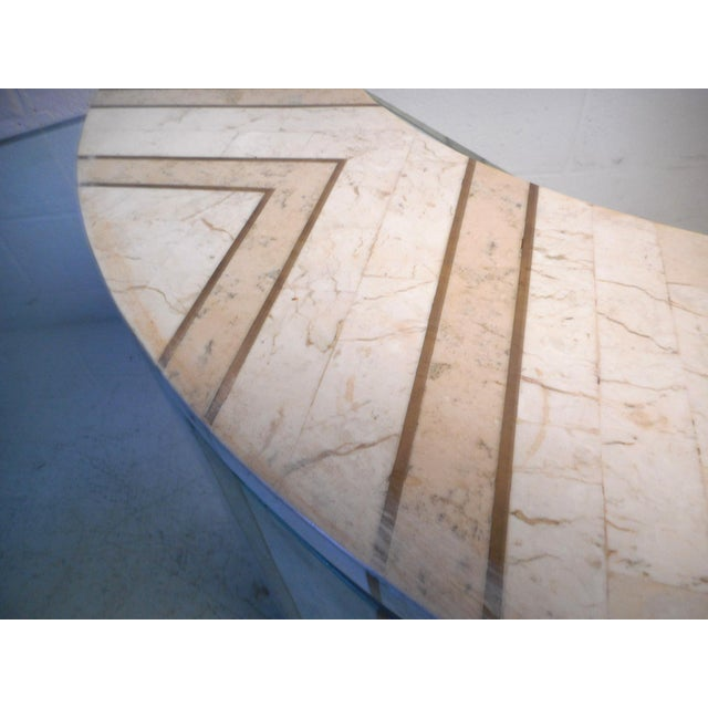 Vintage Modern Tessellated Marble and Glass Hall Table After Maitland-Smith For Sale In New York - Image 6 of 12