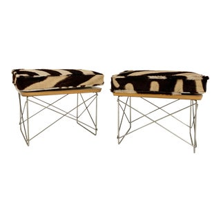 Charles and Ray Eames Ltr Tables With Zebra Cushions, Pair For Sale