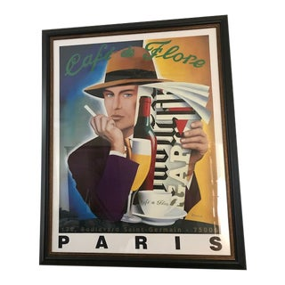 """""""Cafe Flore"""" Lithograph, Framed For Sale"""
