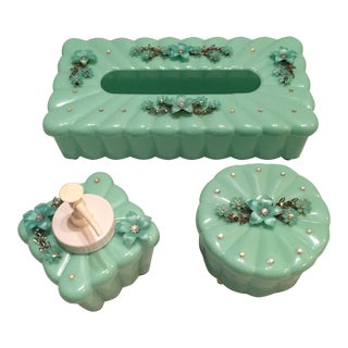 1950's Vintage Hollywood Regency Style Aqua & Rhinestone Vanity Trio - Set of 3 For Sale