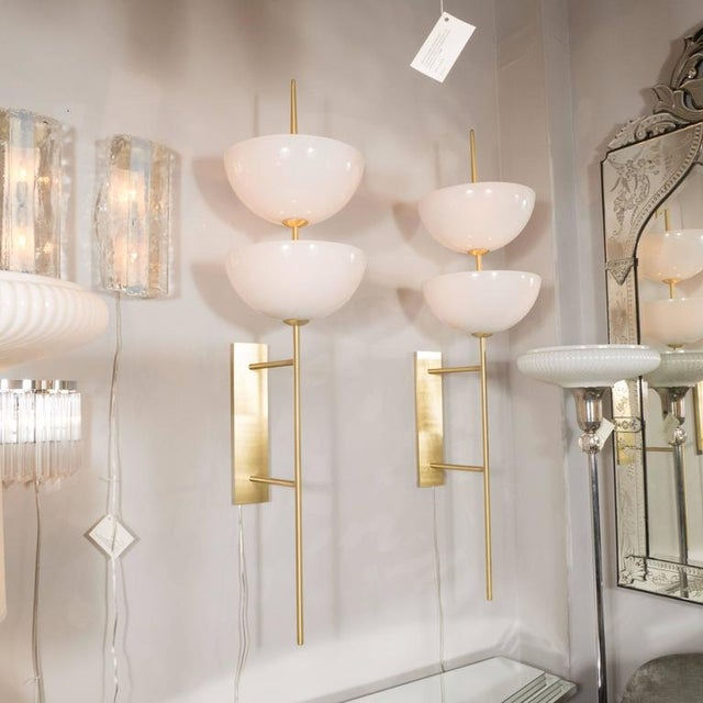 Brass Monumental Murano Milk Glass and Brass Reverse Dome Trophy Sconces - a Pair For Sale - Image 7 of 9