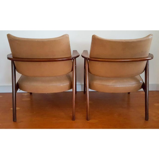 Mid-Century Modern 1950s Mid Century Sigvard Bernadotte Inspired Lounge Chairs - a Pair For Sale - Image 3 of 7