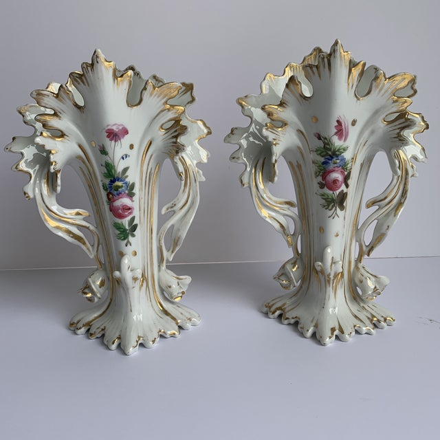 White Antique Flower Vases - a Pair For Sale - Image 8 of 8