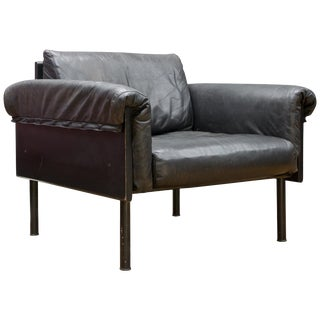 Ateljee Black Leather Lounge Chair Yrjo Kukkapuro Vintage Midcentury Mad Men DC For Sale