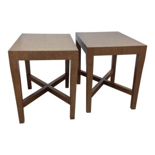 Modern Wood Side Tables - A Pair For Sale