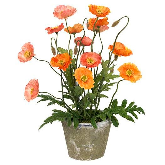 French Provincial Diane James Faux Poppies in Antiqued Pot For Sale - Image 3 of 3