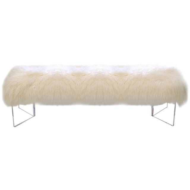 Le-Coterie Curly V Tibetan Lamb Fur Upholstered Lucite Acrylic Bench - Image 3 of 3