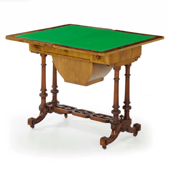 Victorian Early Victorian Figured Walnut Antique Games and Work Table, Circa 1860-80 For Sale - Image 3 of 13
