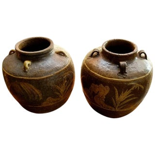Two Chinese Martaban Stoneware Storage Jars For Sale