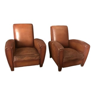 1930's French Cognac Leather Club Chairs - a Pair For Sale