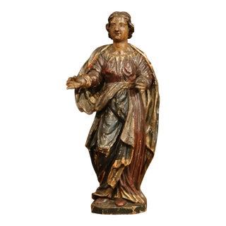18th Century French Hand-Carved Polychromed and Painted Wood Statue of Saint