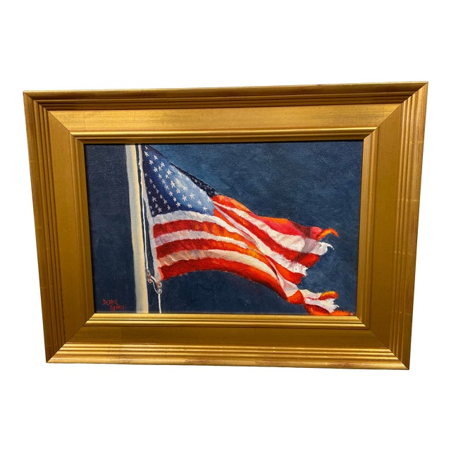 """""""Tattered and Torn"""" Contemporary American Flag Giclee by Debbie Hearle, Framed For Sale"""