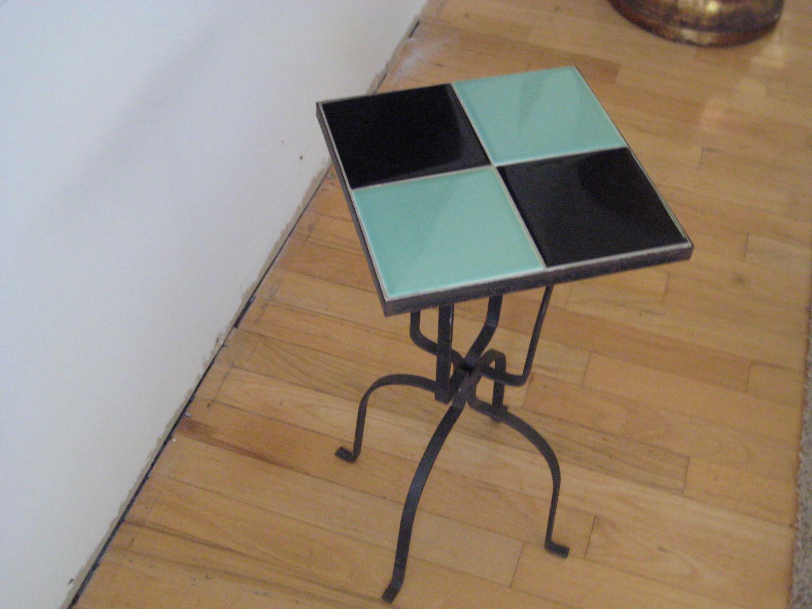 Vintage California Arts Ceramic Tile U0026 Wrought Iron Side Tables  A Pair    Image 3