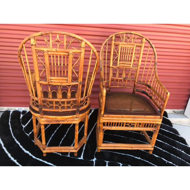 Asian Vintage Mid Century Brighton Pavillion Chinese Chippendale Boho Arm Chairs- A Pair For Sale - Image 3 of 5