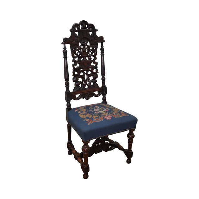 Antique Carved Renaissance Highback Side Chair For Sale