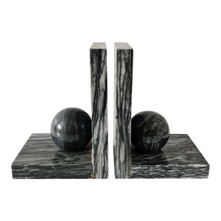 Vintage Black Marble Bookends - a Pair For Sale