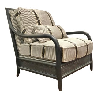 Transitional Gray Rattan Trade Blanket Club Chair For Sale