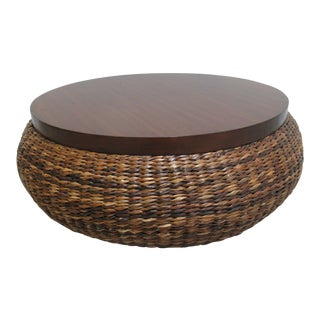 Palecek Woven Rush Mahogany Drum Circular Coffee Serving Table For Sale