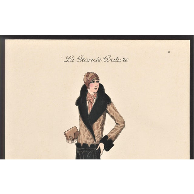 "This is a fabulous Art Deco fashion plate from a collection called ""La Grande Couture"" published in France in the late..."