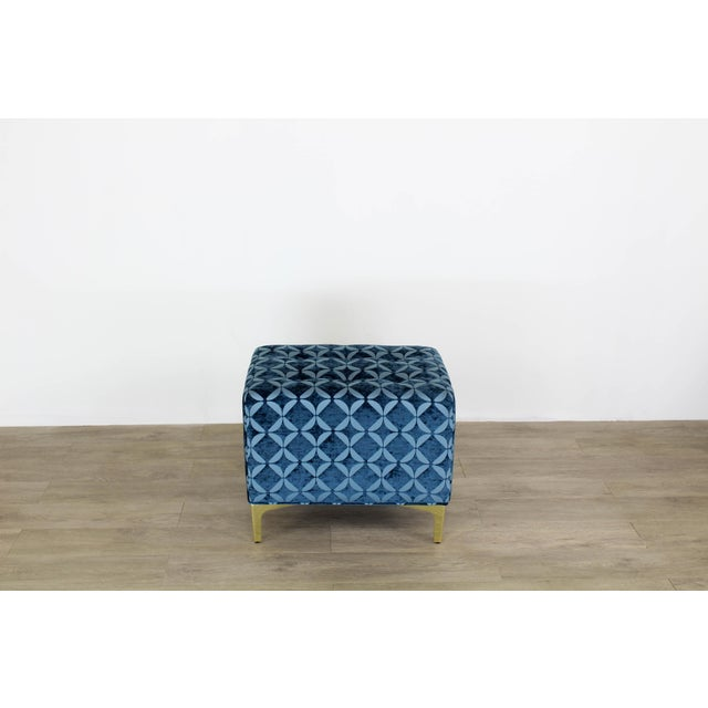 Mid-Century Modern Vintage Blue Chenille Ottoman- a Pair For Sale - Image 3 of 9