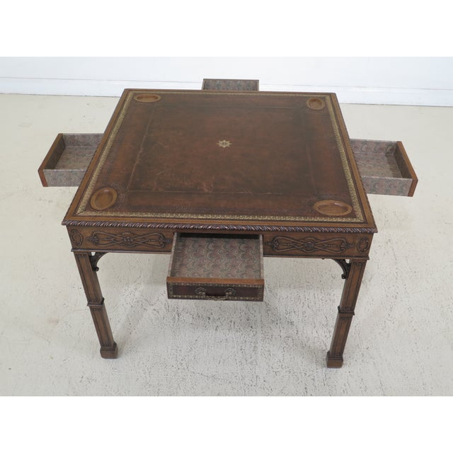Brown 1990s Chippendale Maitland Smith Square Leather Top Games Table For Sale - Image 8 of 11