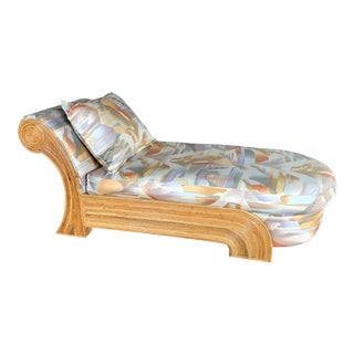 1970s Vintage Garbiella Crespi Style Pencil Reed Chaise Lounge For Sale