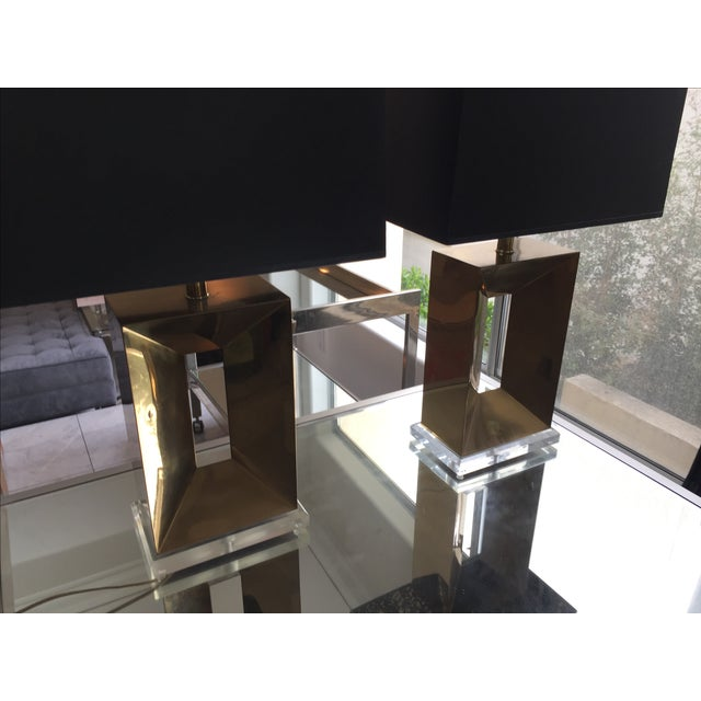 Brass & Lucite Table Lamps - A Pair - Image 7 of 11