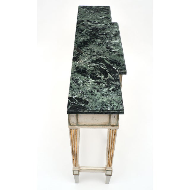 1910s Directoire Style Console Table With Pietra Verde Marble Top For Sale - Image 5 of 10