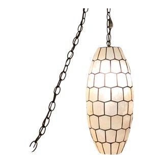 Mid-Century Capiz Shell Slag Lamp For Sale