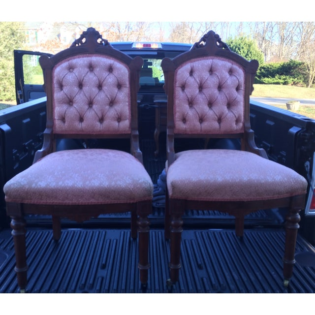 Vintage Victorian Chairs, Pink Upholstery - Pair - Image 2 of 9