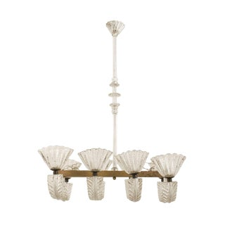 Italian 1940s Chandelier With Four Pair of Feather Forms, by Barovier E Toso For Sale
