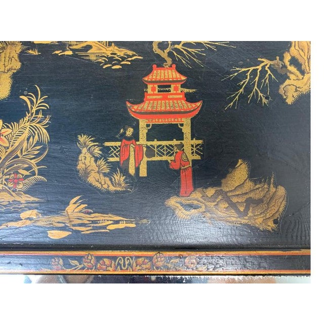 1950s 1950s Asian Style Decorative Chinoiserie Hand Painted Mirror For Sale - Image 5 of 11