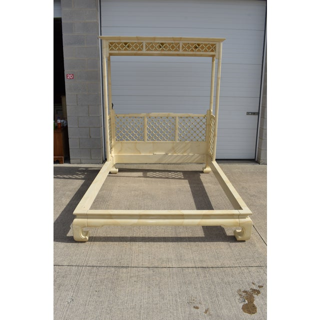 Chinoiserie Henredon Folio 16 Faux Goatskin Queen Size Canopy Bed For Sale - Image 13 of 13